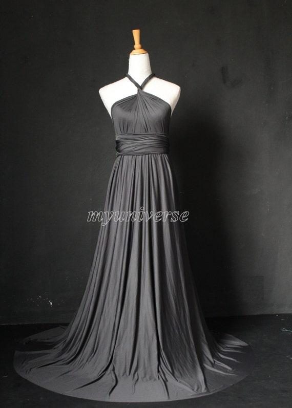 Dark gray wedding dress bridesmaid dress wrap convertible for Dark grey wedding dresses