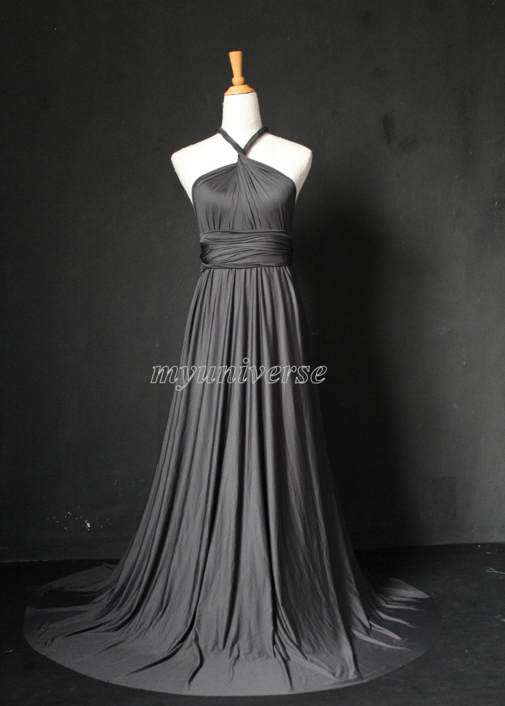 Dark Gray Wedding Dress Bridesmaid Dress Wrap Convertible