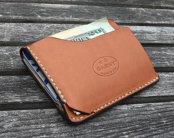 GARNY -  Card and  dollar bill case No.9 / Simplified wallet from whiskey color leather -bl