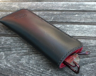 Deerskin Lined Leather Case for Reading Glasses - Black and Red Leather - Hand Stitched with Black - by GARNY