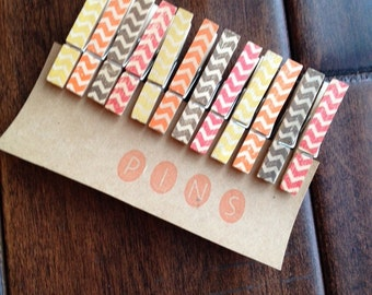 "Mini Clothespins ""Autumn Chevron"" - Set of 12 Handstamped Clothes Pins"