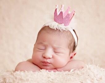 Newborn baby crown headband- crown headband - baby headband- princess crown- infant crown headband - Pink crown- crown- crown hair clip