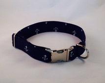 Navy Blue Anchor Dog Collar, Preppy Dog Collar, Nautical Dog Collar, Navy Dog Collar, Anchor Dog Collar, Cape Cod Dog Collar