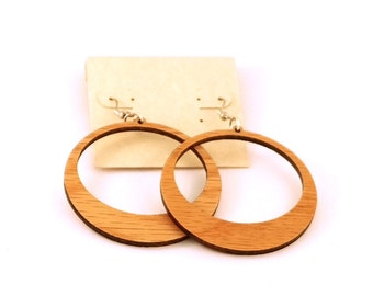 Simple Hoop Hook Earrings Large --Oak, Walnut, Red Stained Maple or Black Stained Maple