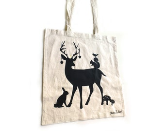 Fall tote bag with deer, squirrel, rabbit, bird. Woodland tote bag.