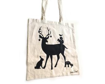 Tote bag with deer, squirrel, rabbit, bird. Woodland tote bag.