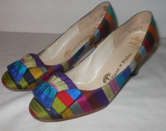Gorgeous Rainbow Fabric Covered 1960's Heels Shoes Stix Baer Fuller 5.5 M