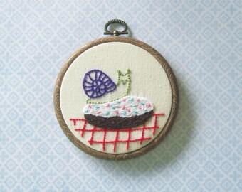Snail On a Doughnut Embroidery