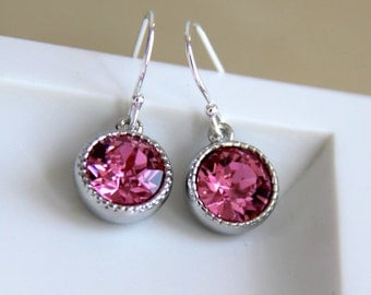 Swarvoski Earrings with Pink Crystals - 27 Colors to Choose From - Gift for Her