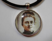 Young St. Therese of Lisieux Portrait Glass Cabochon Necklace