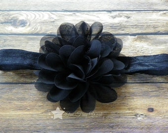 Black headband, baby elastic headband, baby headband, infant headband, newborn headband, baby girl, newborn girl, elastic headband, headband