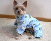 Light Blue Dog Coat with Basketball Playing Bears Design
