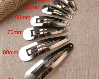 200 pcs 50mm snap clips, wholesale snap clip Sliver plated hair snap clip, mini snap clip, baby snap clip, hair clip, diy accessories