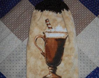 Crochet Top Towel, Mocha Kitchen Towel, Kitchen Crochet, Hanging Kitchen Towel, Bridal Shower Gift Idea, Kitchen Linens, Housewarming Gift