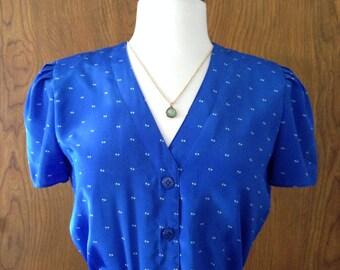 Vintage Blue Dotted Dress
