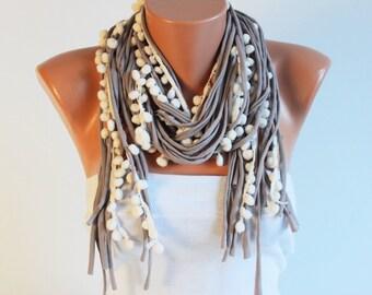 Long fringed boho scarf  ,knited fabric scarf