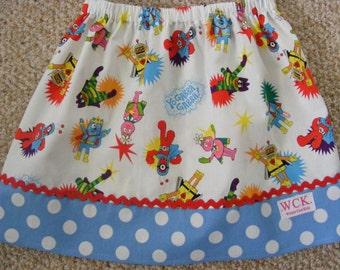 Yo Gabba Gabba  Skirt  (12 mos, 18 mos,24 mos,  2T,  3T, 4T, 5, 6, 7)