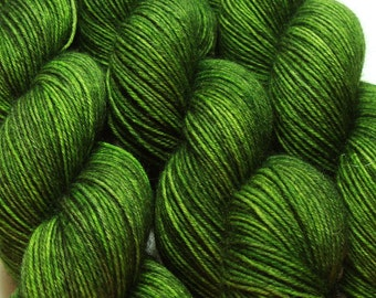 sw merino wool nylon sock yarn FOLIAGE hand dyed fingering weight green