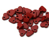 Heart Beads, Red Heart Beads, Red Heart Ceramic Beads 30pcs C 10 016
