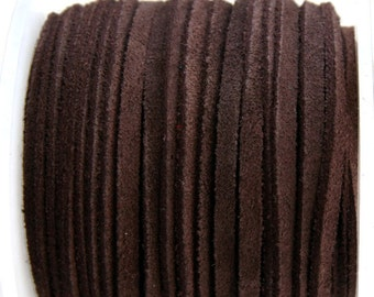 3 yards Brown Suede Cord, Faux Suede Cord Lace Leather Flat Cord Brown 9 ft S 40 091