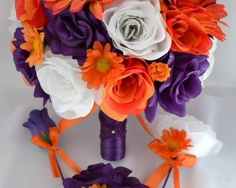 "17 Piece Package Wedding Bridal Bride Maid Of Honor Bridesmaid Bouquet Boutonniere Corsage Silk Flower PURPLE ORANGE ""Lily Of Angeles ORPU03"