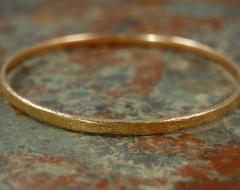 Bangle Bracelet in textured Recycled 14k ROSE, white or yellow GOLD.  Hand Sculpted Gold Bangle Bracelet.