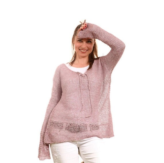 Knitting Summer Sweater : Summer knit loose linen sweater hand knitted by