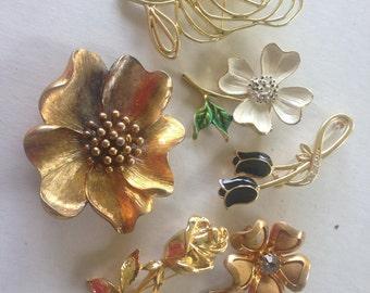 Flower Brooches Retro Vintage Lot 633