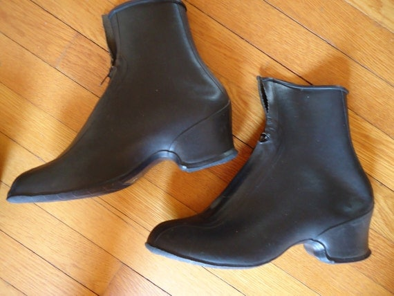 Women's vintage black rubber overshoes galoshes rain boots