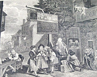 Vintage Political Cartoon Print: Hogarth Canvassing for Votes, Litho Print, English Historical Cartoon