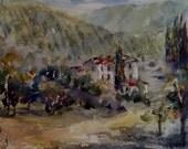 "Landscape, vineyard, farm, Provence, villa, Tuscany. Through the Vineyard- original watercolor painting (12"" x 12"")."