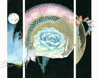 Watercolor Print, 'Entangle'