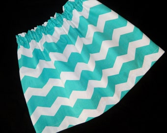 Tween, girl, toddler, baby turquoise teal blue and white chevron fabric skirt sizes NB 3m 6m 12m 18m 24m 2T 3T 4T 5T 6 7 8 10 12 14 16