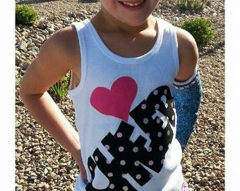 Love Cheer tank Tween, girl, toddler knit white tank or shirt with love heart CHEER applique in polka dot glitter and pink sizes 12m - adult