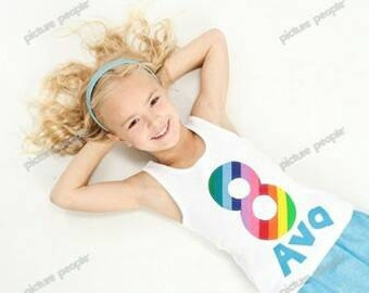 Girl tank top or shirt with bright bubble gum yellow blue orange rainbow colors personalized birthday number, aqua blue name applique NB -16
