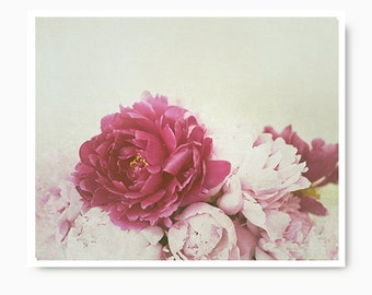 Pink Peonies Wall Art, flower Print, flower photography, shabby chic, cottage home decor, baby girl nursery art  floral, flower photography