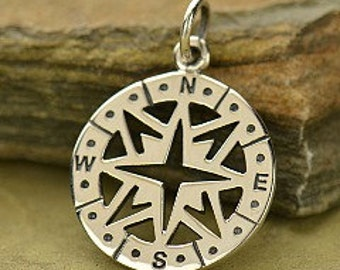 Sterling Silver Openwork Compass Pendant  -cj1450, True North, Graduation, Ocean, Navy Charms, Nautical , Sailor Charms, Faith, Vacation