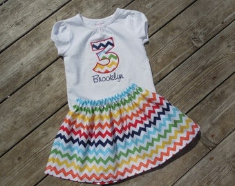 Girl's Toddlers Rainbow Chevron Personalized Birthday Outfit