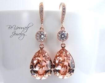 Blush Bridal Earrings Soft Pink Teardrop Bride Earring Rose Gold Wedding Jewelry Swarovski Crystal Vintage Rose Pastel Pink Bridesmaid Gift
