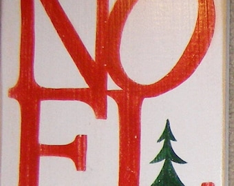 Noel Merry Christmas in French Country Sign Plaque HP Wood Holidays U Pick Color Paris with  Pine Tree