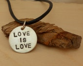 love is love hand stamped necklace LGBT equality personalized custom