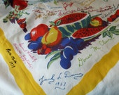 Vintage Wilendur tablecloth Fruits Watermelon apples Cherries Embroidered names 1940-70's Signature Cloth Mystery Party