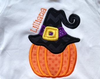 Witch Pumpkin Custom boutique appliqued monogrammed personalized, boys, girls, t shirt, one piece w/snaps, thanksgiving, fall
