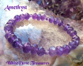 AMETHYST BEAD BRACELET - Faceted Vintage Bead Mala Violet Ray Alchemy Psychic Meditate DivineLove IntuitiveDreams HealPurify Stretch Stacker