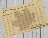 Maple Leaf Recipe Cards Printable 4x6 3.5x5 3x5 Autumn Fall Recipe Card