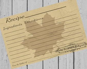 Fall Recipe Card | 4x6 Printable Recipe Card 3.5x5 | 3x5 Rustic Recipe Card | Hostess Gift | Party Favor