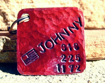 The Johnny (#104) - Red Square Distressed Hammered Unique Handstamped Pet ID Tag