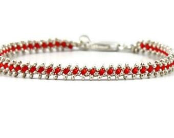 Silver Chain Bracelet - Beaded Jewelry - Layering Bracelet - Bridesmaid Gift - Wedding Jewelry - Karen Hill Tribe Silver - Beaded Bracelet