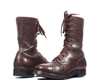 6 EE | Men's Brown Vintage Combat Boots Dated 1951 Chippewa Shoe Co. Lace Up Cap Toe Boots