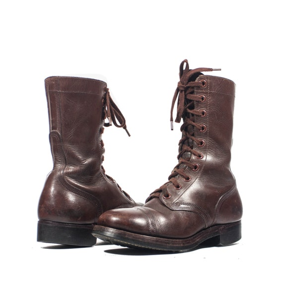 6 ee s brown vintage combat boots dated 1951 by